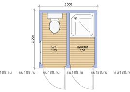 Хозблок из дерева 2х2 с двумя отделениями