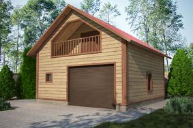 Двухэтажный гараж из бруса 7х7