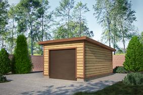 Деревянный гараж с односкатной крышей 6х4