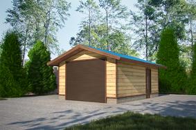 Деревянный каркасный гараж с двухскатной крышей 6х4