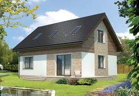 Одноэтажный дом с мансардой из пеноблоков