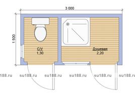 Хозблок с туалетом 3х1.5