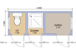 Дачный хозблок с душем и туалетом 4х1.5
