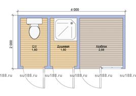 Хозблок с туалетом 2х4 трехдверный