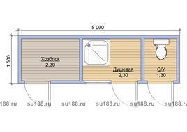 Хозблок с туалетом 5х1.5