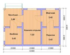 Деревянная баня из бруса 6х4