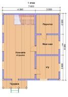 Двухэтажная баня с мансардой 7х8