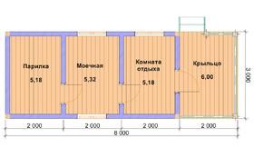 Баня из профилированного бруса 8х3