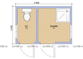 Деревянный хозблок 3х2 два отделения