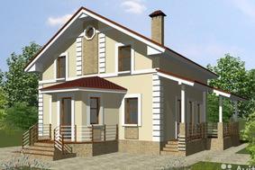 Дом 9х9 двухэтажный из пеноблоков